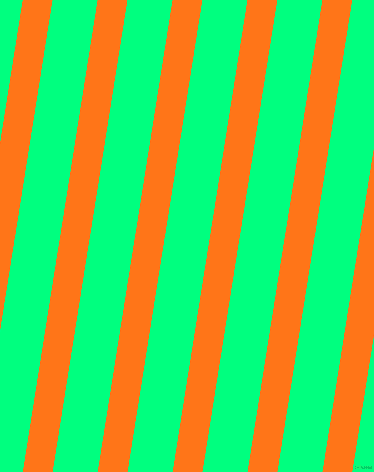 81 degree angle lines stripes, 59 pixel line width, 89 pixel line spacing, Pumpkin and Spring Green stripes and lines seamless tileable