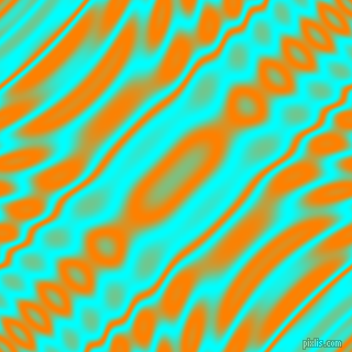 , Aqua and Dark Orange wavy plasma ripple seamless tileable